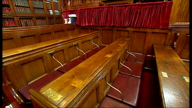 court of appeal interior gvs showing video cameras; england: london: royal courts of justice: court of appeal: int various general views of empty... - court room stock videos & royalty-free footage