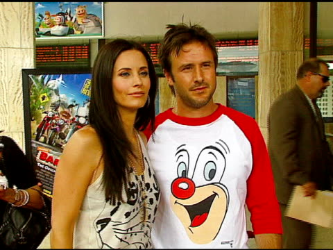 courteney cox and david arquette at the 'barnyard'' world premiere at the cinerama dome at arclight cinemas in hollywood california on july 30 2006 - cinerama dome hollywood stock videos and b-roll footage