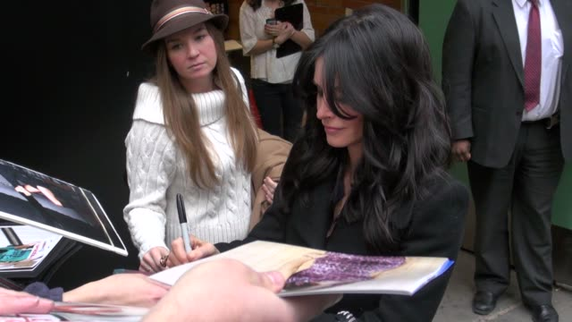 courteney cox at the 'good morning america' studio in new york on 2/14/2012 - good morning america stock videos and b-roll footage