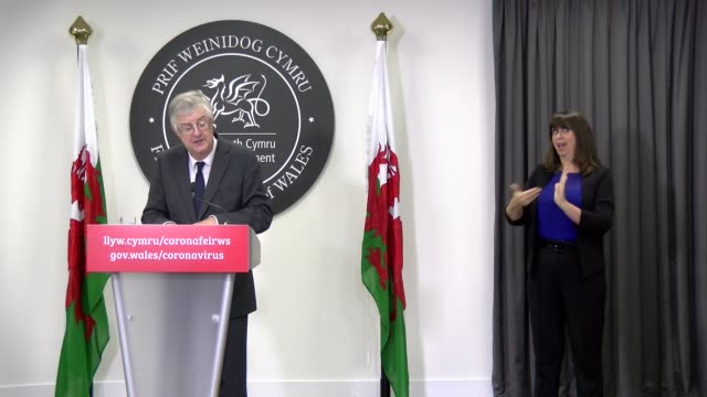 "welsh government welsh first minister mark drakeford gives an update on the coronavirus situation in his country. he said thatcovid-19 was ""waking up... - social grace stock videos & royalty-free footage"