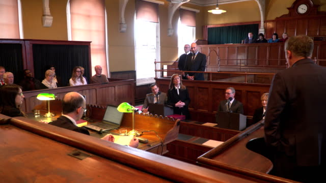 4K: Courthouse - Barrister / Lawyer questions Witness