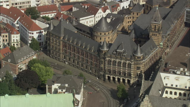 aerial courthouse building, bremen, germany - court stock videos & royalty-free footage
