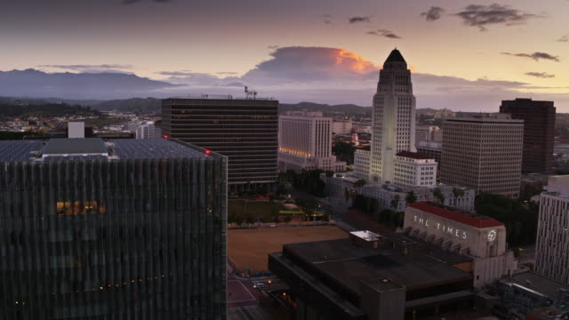 US Courthouse, Los Angeles Times Building and City Hall at Sunrise - Aerial
