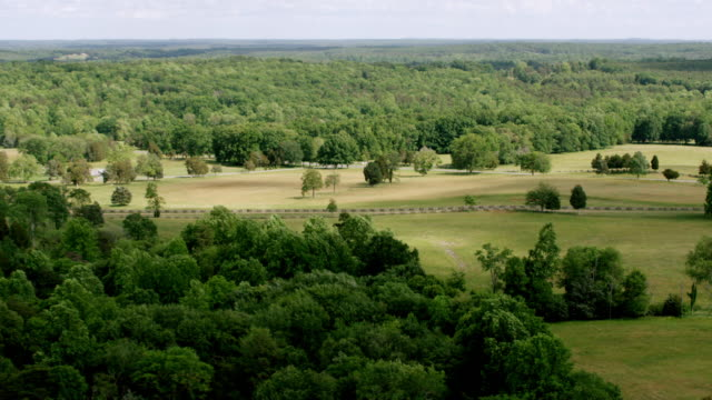 WS AERIAL POV Courthouse surrounded by forest area at Appomattox Court House National Historical Park / Appomattox, Virginia, United States