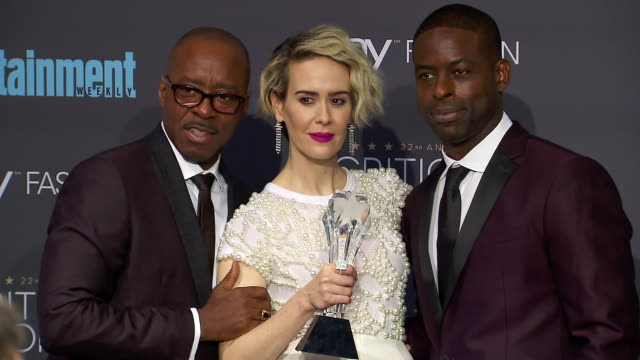 courtney b vance sarah paulson sterling k brown at 22nd annual critics' choice awards in los angeles ca - sarah paulson stock videos and b-roll footage