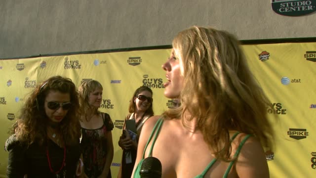 courtney hansen on the event and why guys need their own awards show at the spike tv's guys' choice awards at radford studios in los angeles... - spike guys choice awards video stock e b–roll