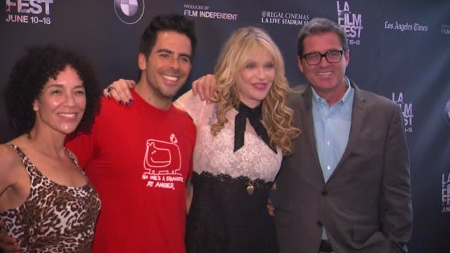 "courtney love, eli roth, josh welsh, and stephanie allain at the 2015 los angeles film festival - closing night live read of ""fast times at ridgemont... - typisch walisisch stock-videos und b-roll-filmmaterial"