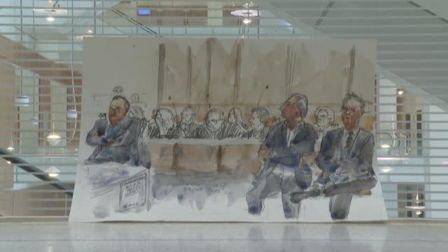 vídeos de stock e filmes b-roll de courtroom sketches by benoît peyrucq of the first day of the mediator weight loss drug trial - sala de tribunal
