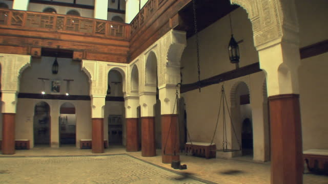 ws pan courtyard inside nejjarine museum, fez, morocco - courtyard stock videos and b-roll footage