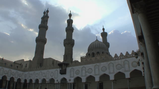 ws la courtyard of al ahzar mosque with minarets, cairo, egypt - mosque stock videos & royalty-free footage