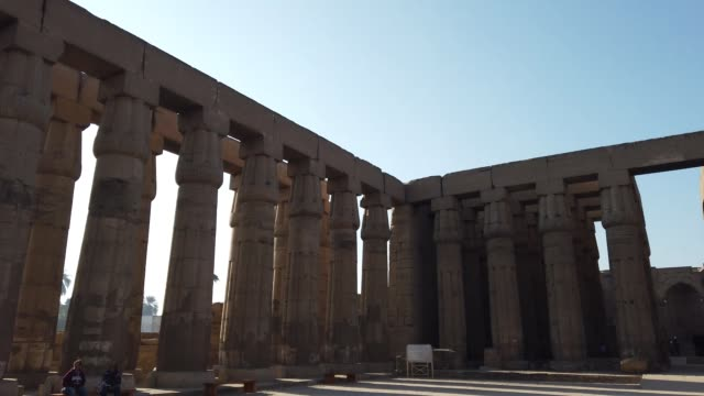 courtyard of amenhotep iii in luxor temple in luxor, egypt - egypt stock videos & royalty-free footage