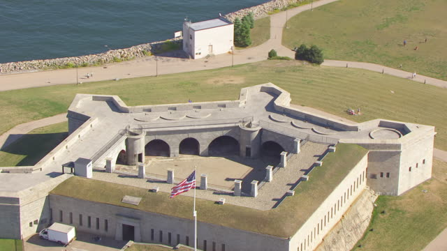 WS ZO AERIAL POV Courtyard of Fort Trumbull / New London, Connecticut, United States