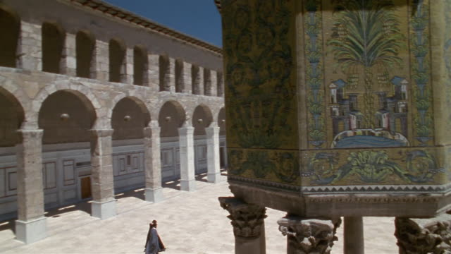 cs, cu, ws, courtyard of grand mosque of damascus, damascus, syria - grand mosque stock videos and b-roll footage