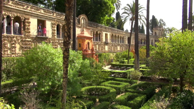 Courtyard of Real Alcazar in Seville Spain