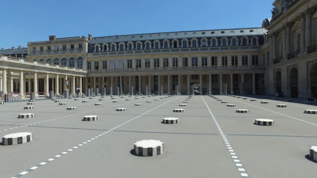 courtyard of the national domain of the palais-royal with the facade of the ministry of culture. france has started a progressive relaxation of its... - architectural column stock videos & royalty-free footage