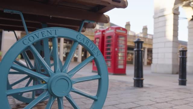 covent garden market and piazza - empty london in lockdown during coronavirus pandemic - strada vuota video stock e b–roll