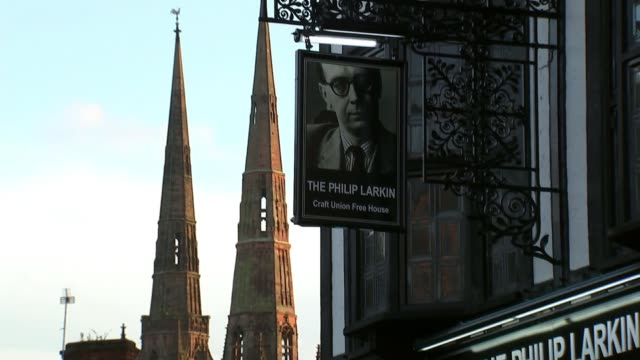 coventry hopes to be named next uk city of culture west midlands coventry ext exterior of 'the philip larkin' pub with spires in background wide shot... - west midlands stock videos & royalty-free footage