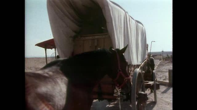 ms covered wagon leaves dude ranch in texas; 1979 - 外乗点の映像素材/bロール