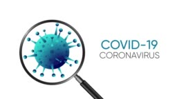 Covid 19 coronavirus animated banner concept with magnifying glass.