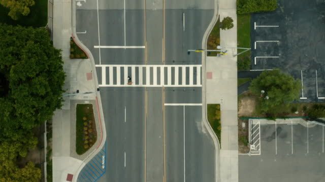 covid 19 shelter in place - empty crosswalk - empty road stock videos & royalty-free footage