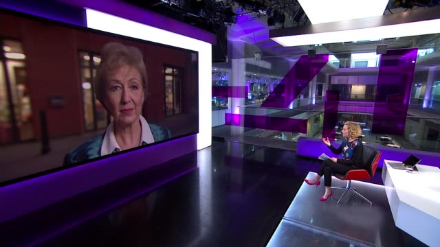 covid19 coronavirus / flybe / priti patel bullying allegations andrea leadsom interview england ext andrea leadsom mp interview sot reporter - cathy newman stock videos & royalty-free footage