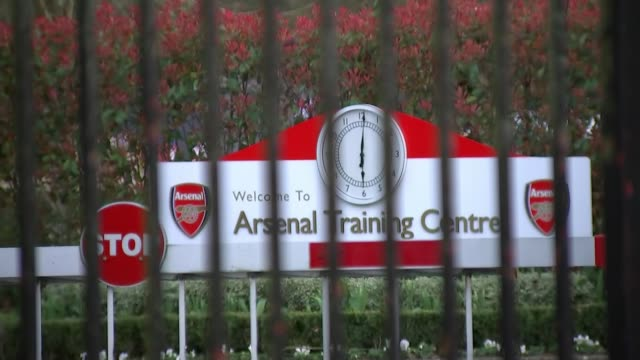 sporting calender decimated by cancellations england hertfordshire london colney ext gvs closed entrance gates of arsenal training centre - calendar stock videos & royalty-free footage
