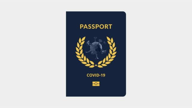 covid-19 immunization certificate. passport conceptual symbol. blue color. loopable image. - conceptual symbol stock videos & royalty-free footage