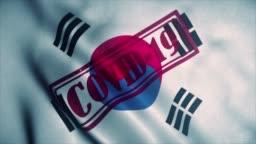 Covid-19 stamp on the national flag of South Korea. Coronavirus concept