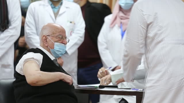 covid-19 vaccinations with sputnik v vaccines donated by the uae, in gaza city in gaza city, palestine, on monday, february 22, 2021. - senior men stock videos & royalty-free footage