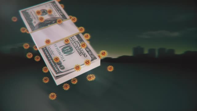 vídeos de stock e filmes b-roll de covinavirus affecting the american and world economy affecting the dollar - background for graphic design template - américa latina