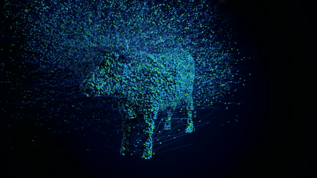 cow 3d particles - atom stock videos & royalty-free footage