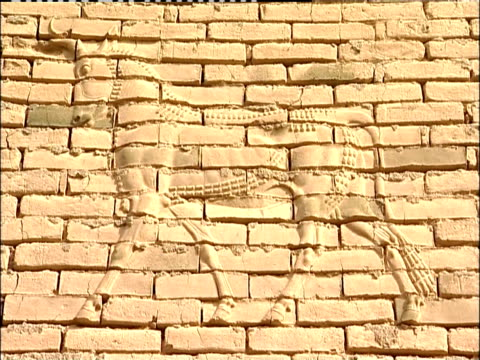 a cow inlay covers a brick wall in babylon. - babylon stock videos and b-roll footage