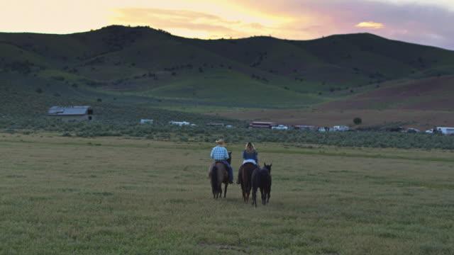 vidéos et rushes de cowboy et cowgirl à cheval au coucher du soleil - vue aérienne - monter à cheval