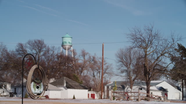 A cowboy birdhouse hangs in the front yard of a home in a small rural town with other white houses and a water tower in the distance.