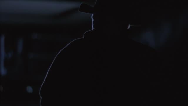 CU Cowboy breathing and walking at night / Tejon Ranch, California, USA