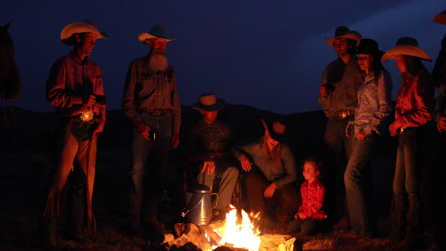 cowboy campfire slow motion - rodeo stock videos & royalty-free footage