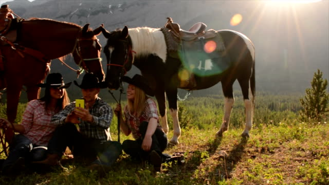 cowboy/ cowgirls pause in mountain meadow - all horse riding stock videos & royalty-free footage