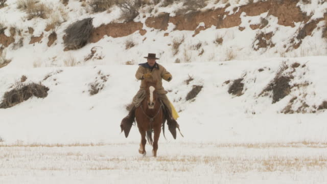 stockvideo's en b-roll-footage met slo mo ws ms cowboy galloping in snowy landscape / shell, wyoming, usa - alleen één mid volwassen man