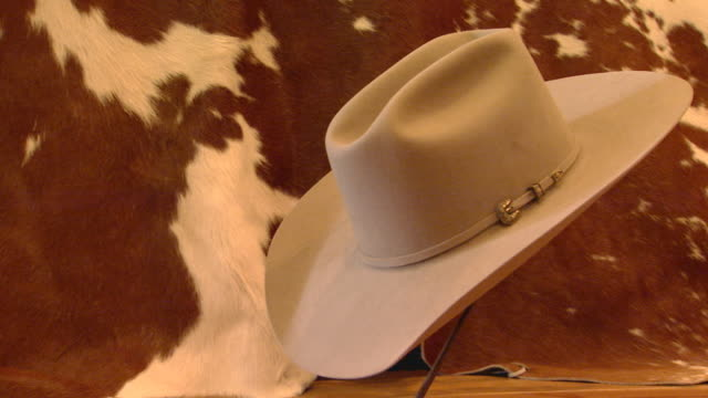 cowboy hat on display in front on cow hide - cowboy hat stock videos & royalty-free footage