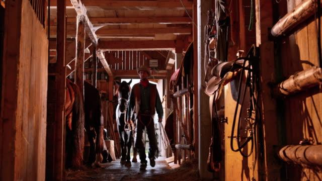 DS-Cowboy führt sein Pferd in den Stall