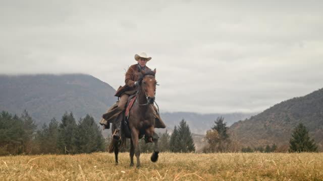 vídeos de stock e filmes b-roll de slo mo cowboy riding a galloping horse across mountain meadow - ir em frente