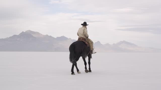 cowboy riding horse on salt flats. - bonneville salt flats stock videos & royalty-free footage
