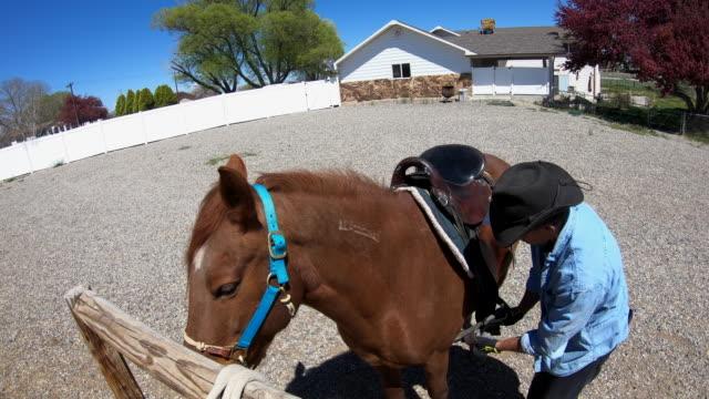 vídeos y material grabado en eventos de stock de cowboy saddles his mustang - oficio agrícola