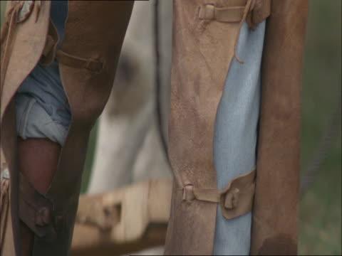 stockvideo's en b-roll-footage met a cowboy wears leather chaps. - agrarisch beroep