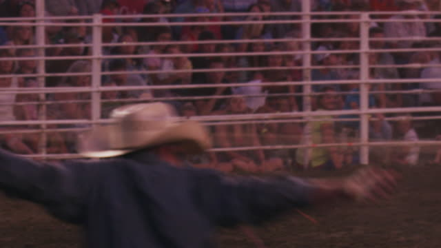 A cowboy with a lariat busts out the chute, ropes a steer, wraps it's legs - shot in slow motion.