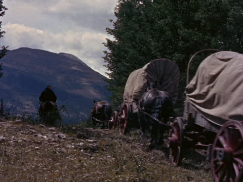 cowboys and covered wagons disappear over a hilltop. - 農林水産関係の職業点の映像素材/bロール