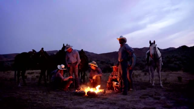cowboys campfire - rodeo stock videos & royalty-free footage