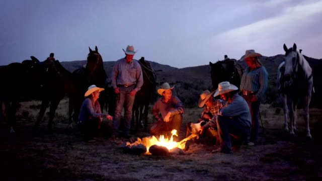 cowboys campfire - cowboy stock videos & royalty-free footage