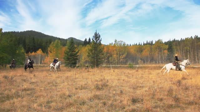 Cowboys galloping on Horseback through pasture