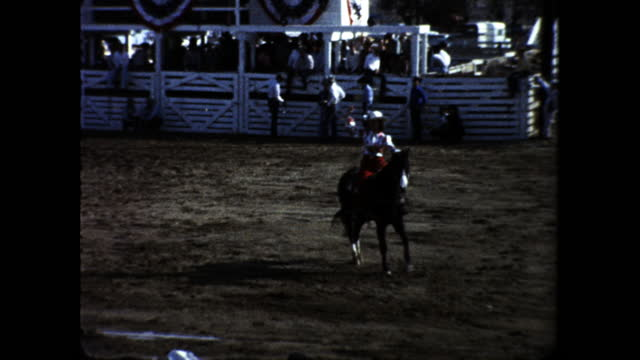 cowboys on horseback in the rodeo with lots of people in the crowd; cowboy trying to tame angry horse; cowboy capturing calf with a lasso; cowboy... - tame stock videos & royalty-free footage